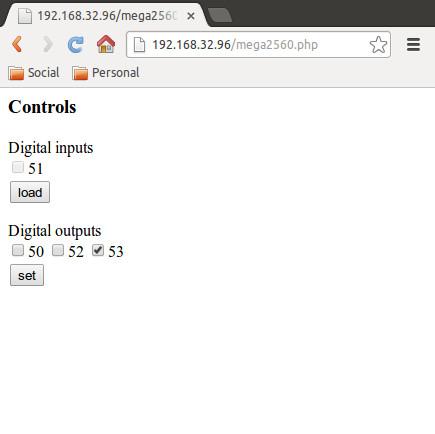 mega2560_ctrl web page